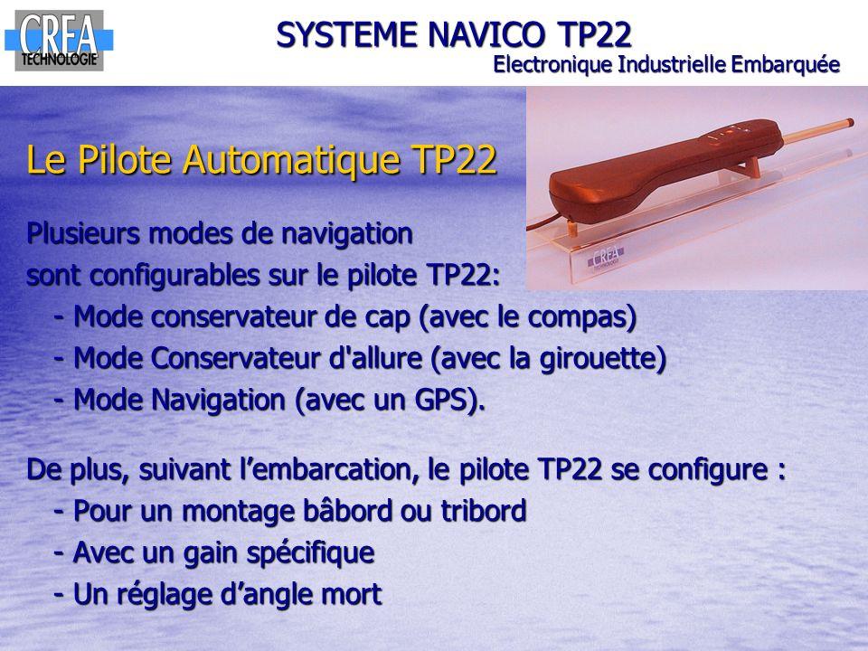 Le Pilote Automatique TP22 Plusieurs modes de navigation sont configurables sur le pilote TP22: - Mode conservateur de cap (avec le compas) - Mode con
