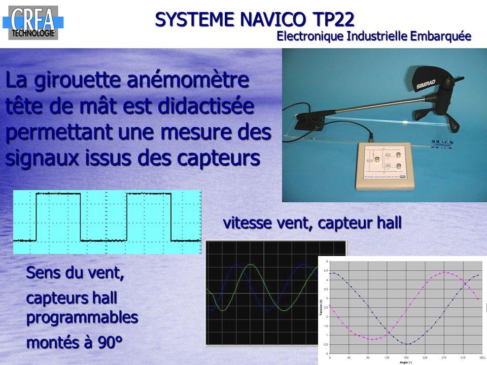 La girouette anémomètre tête de mât est didactisée permettant une mesure des signaux issus des capteurs SYSTEME NAVICO TP22 Electronique Industrielle