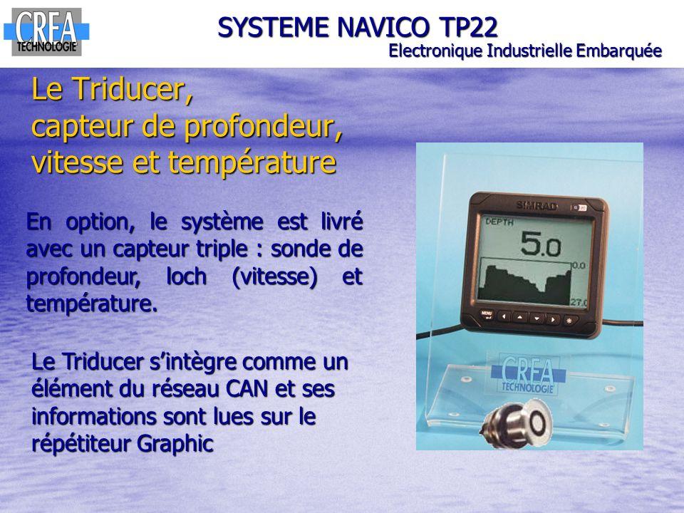 Le Triducer, capteur de profondeur, vitesse et température SYSTEME NAVICO TP22 Electronique Industrielle Embarquée En option, le système est livré ave