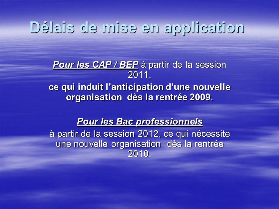 Délais de mise en application Délais de mise en application Pour les CAP / BEP à partir de la session 2011, ce qui induit lanticipation dune nouvelle organisation dès la rentrée 2009.