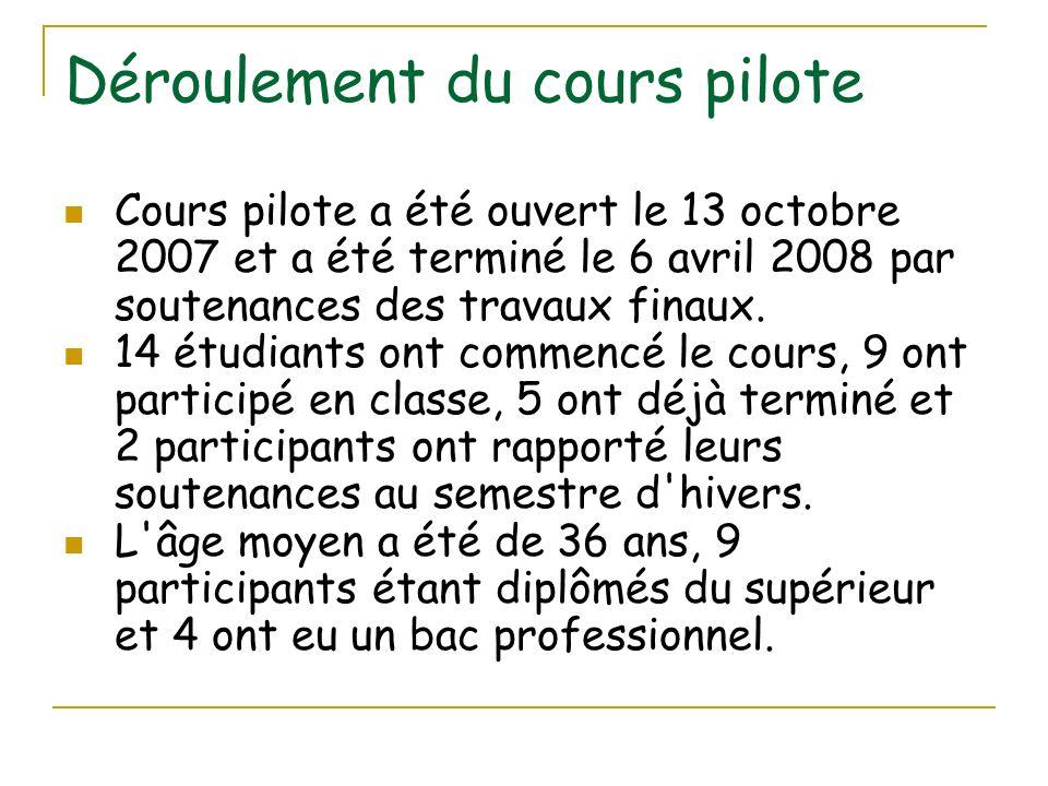 Déroulement du cours pilote Cours pilote a été ouvert le 13 octobre 2007 et a été terminé le 6 avril 2008 par soutenances des travaux finaux. 14 étudi