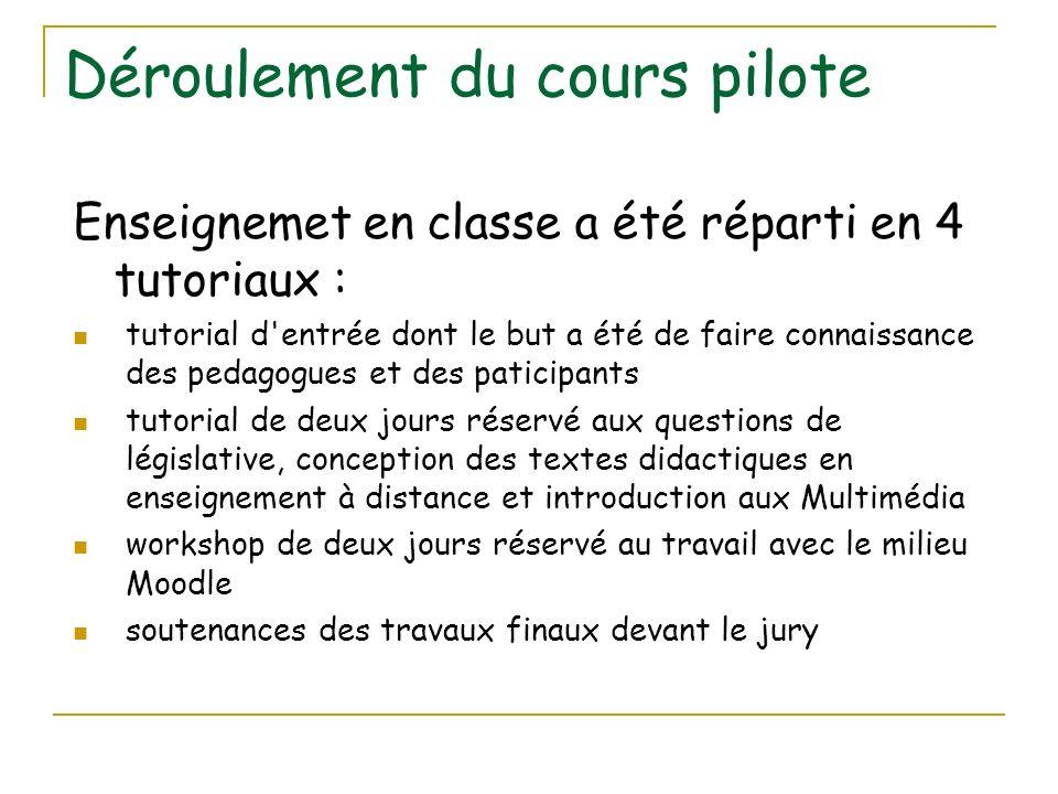 Déroulement du cours pilote Enseignemet en classe a été réparti en 4 tutoriaux : tutorial d'entrée dont le but a été de faire connaissance des pedagog