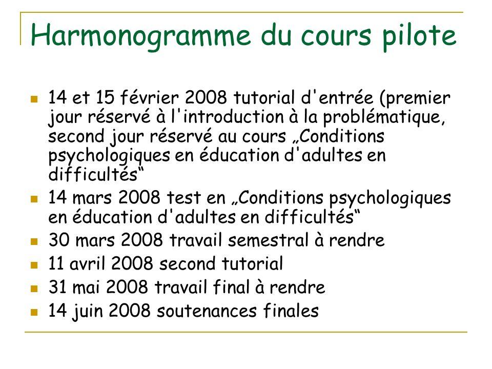 Harmonogramme du cours pilote 14 et 15 février 2008 tutorial d'entrée (premier jour réservé à l'introduction à la problématique, second jour réservé a