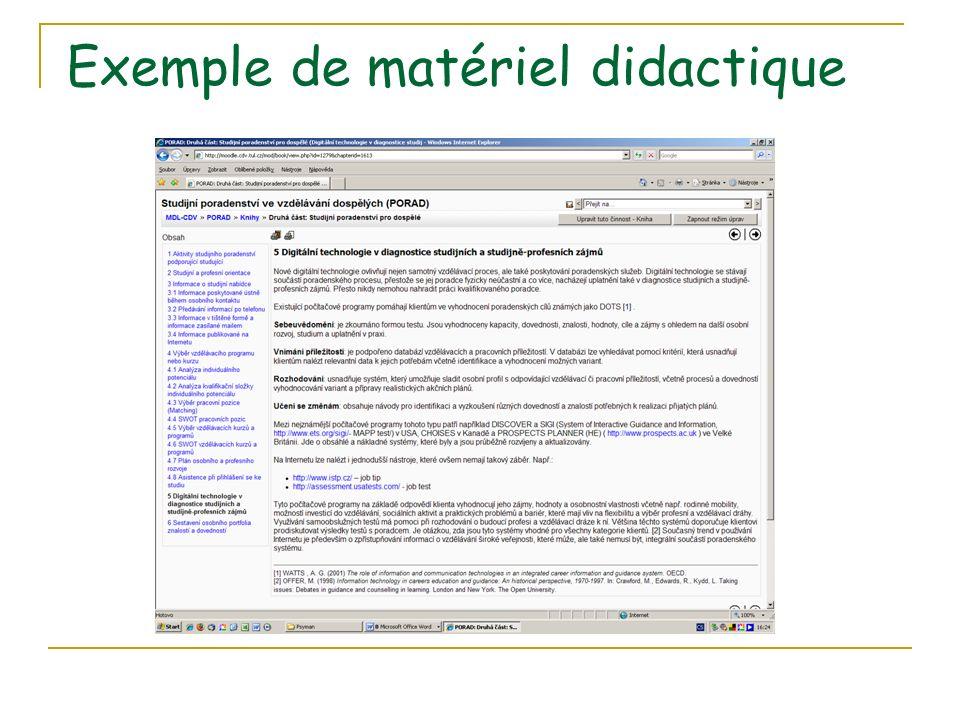 Exemple de matériel didactique