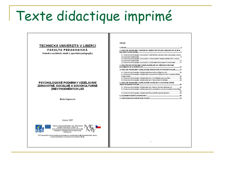 Texte didactique imprimé