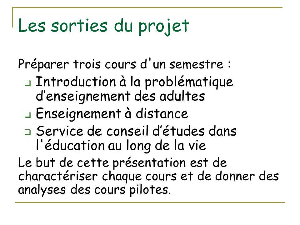 Les sorties du projet Préparer trois cours d ' un semestre : Introduction à la problématique denseignement des adultes Enseignement à distance Service