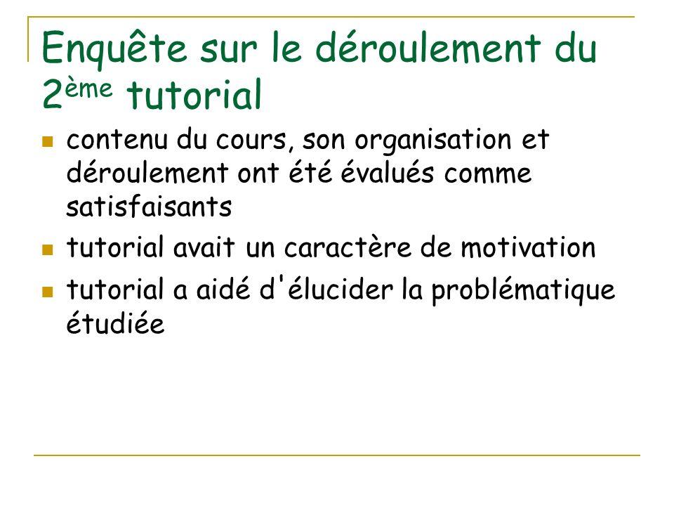 Enquête sur le déroulement du 2 ème tutorial contenu du cours, son organisation et déroulement ont été évalués comme satisfaisants tutorial avait un c