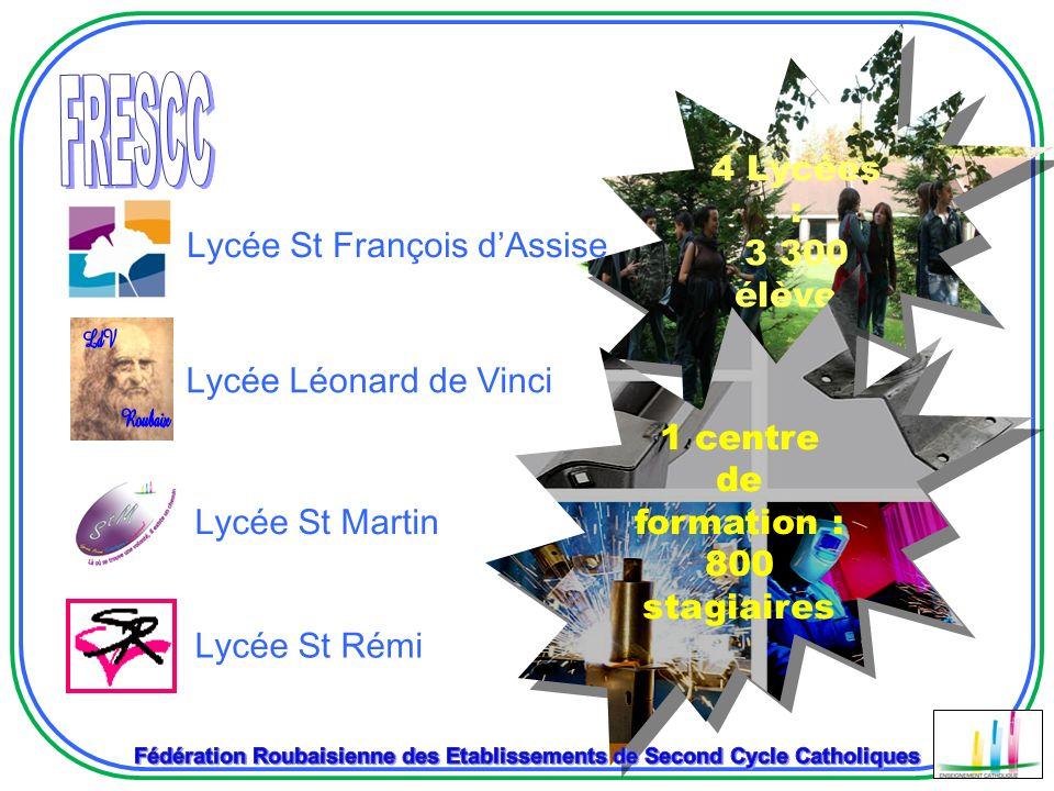 Lycée Léonard de Vinci Lycée St Rémi Lycée St François dAssise 4 Lycées : 3 300 élèves 1 centre de formation : 800 stagiaires Lycée St Martin