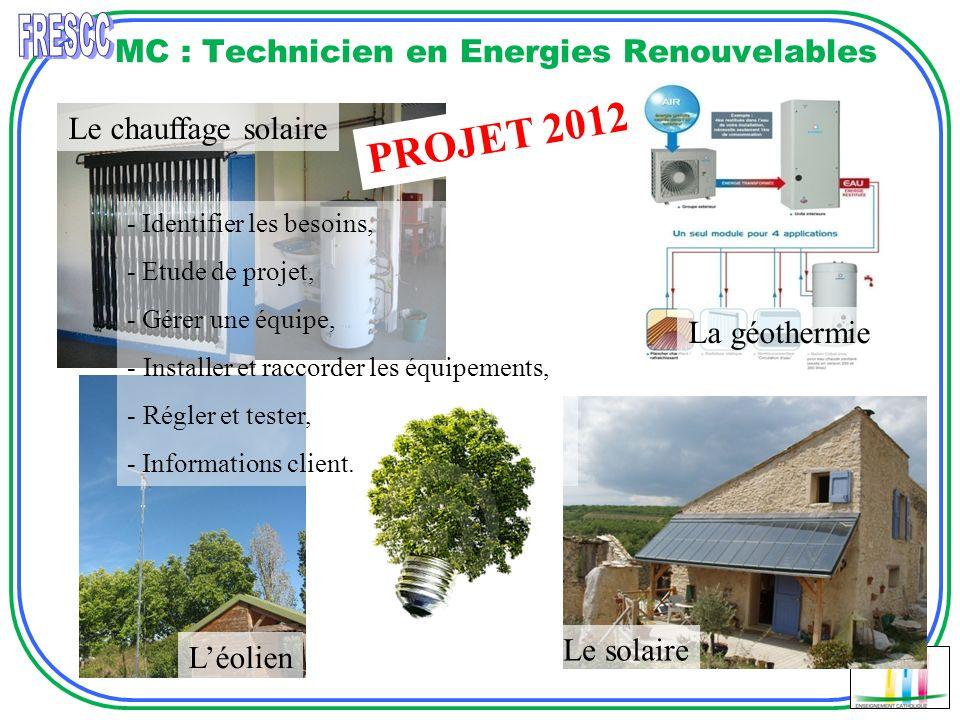 MC : Technicien en Energies Renouvelables Le chauffage solaire Léolien La géothermie Le solaire - Identifier les besoins, - Etude de projet, - Gérer u
