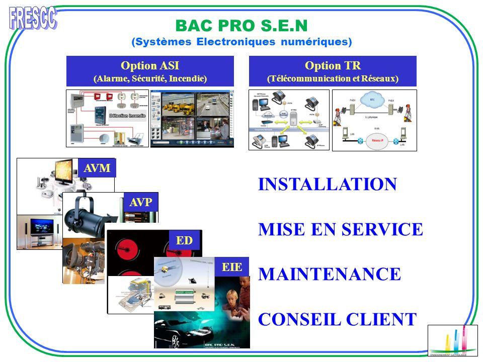 BAC PRO S.E.N (Systèmes Electroniques numériques) Option ASI (Alarme, Sécurité, Incendie) AVM Option TR (Télécommunication et Réseaux) INSTALLATION MI