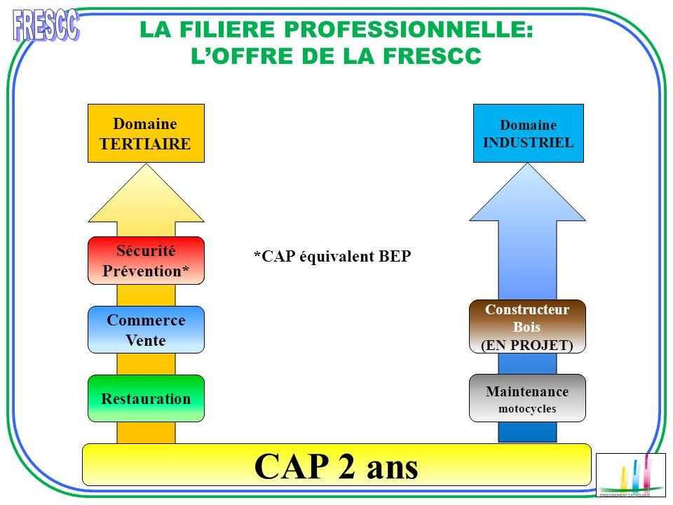 Domaine TERTIAIRE LA FILIERE PROFESSIONNELLE: LOFFRE DE LA FRESCC CAP 2 ans Domaine INDUSTRIEL Restauration Maintenance motocycles *CAP équivalent BEP