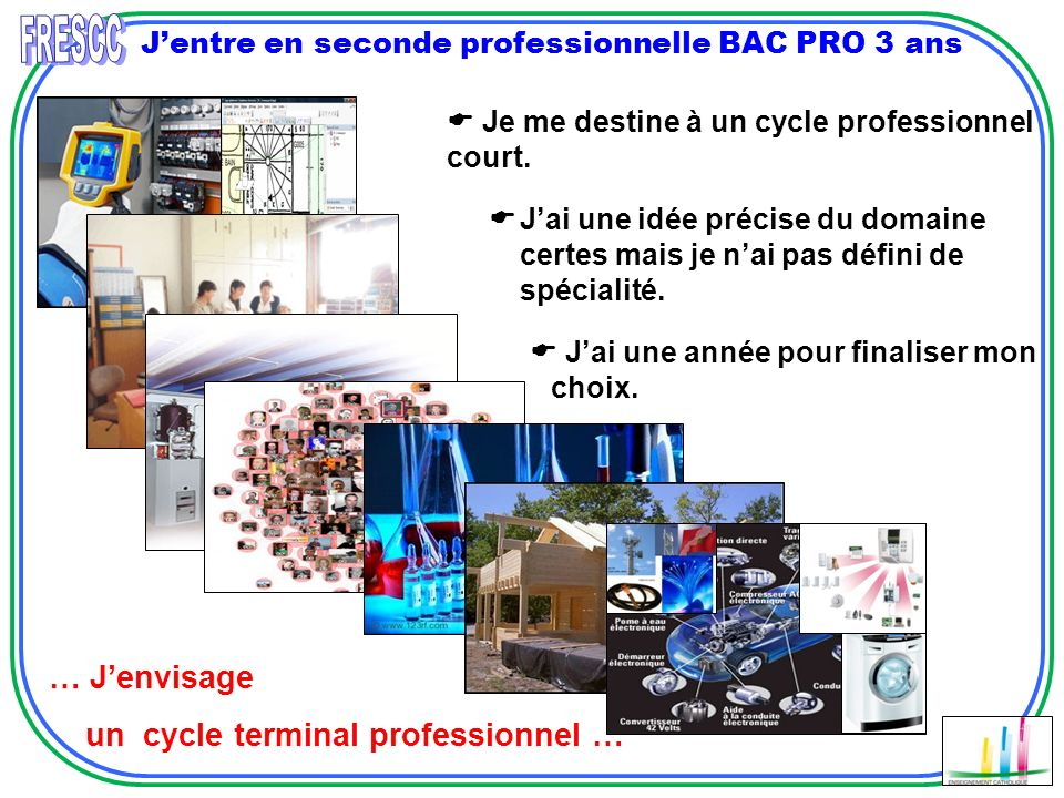 Jentre en seconde professionnelle BAC PRO 3 ans Je me destine à un cycle professionnel court.