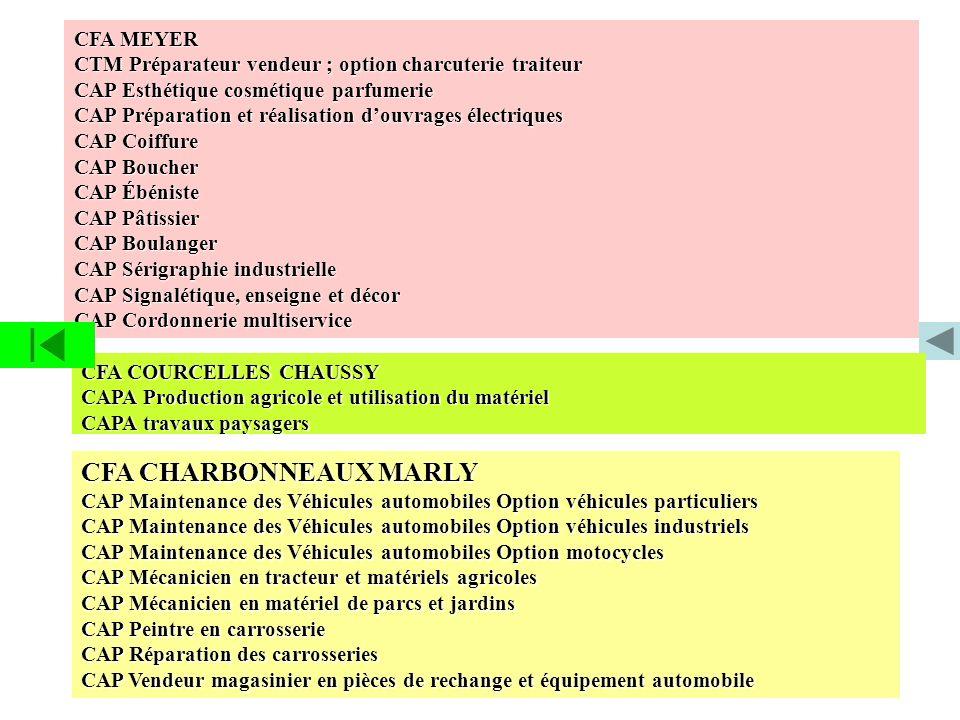 CFA MEYER CTM Préparateur vendeur ; option charcuterie traiteur CAP Esthétique cosmétique parfumerie CAP Préparation et réalisation douvrages électriq