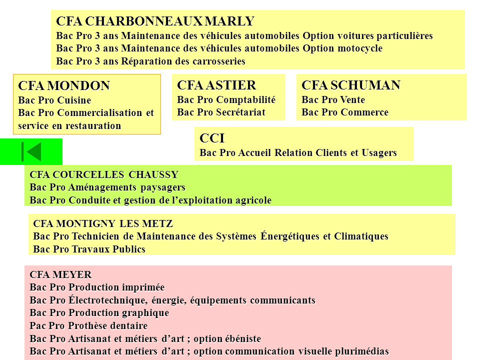 CFA CHARBONNEAUX MARLY Bac Pro 3 ans Maintenance des véhicules automobiles Option voitures particulières Bac Pro 3 ans Maintenance des véhicules autom