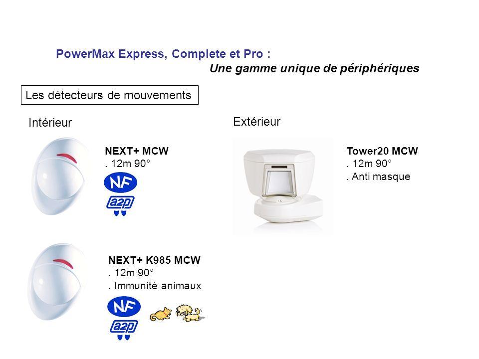PowerMax Express, Complete et Pro : Une gamme unique de périphériques Les détecteurs de mouvements Intérieur Extérieur NEXT+ MCW. 12m 90° NEXT+ K985 M