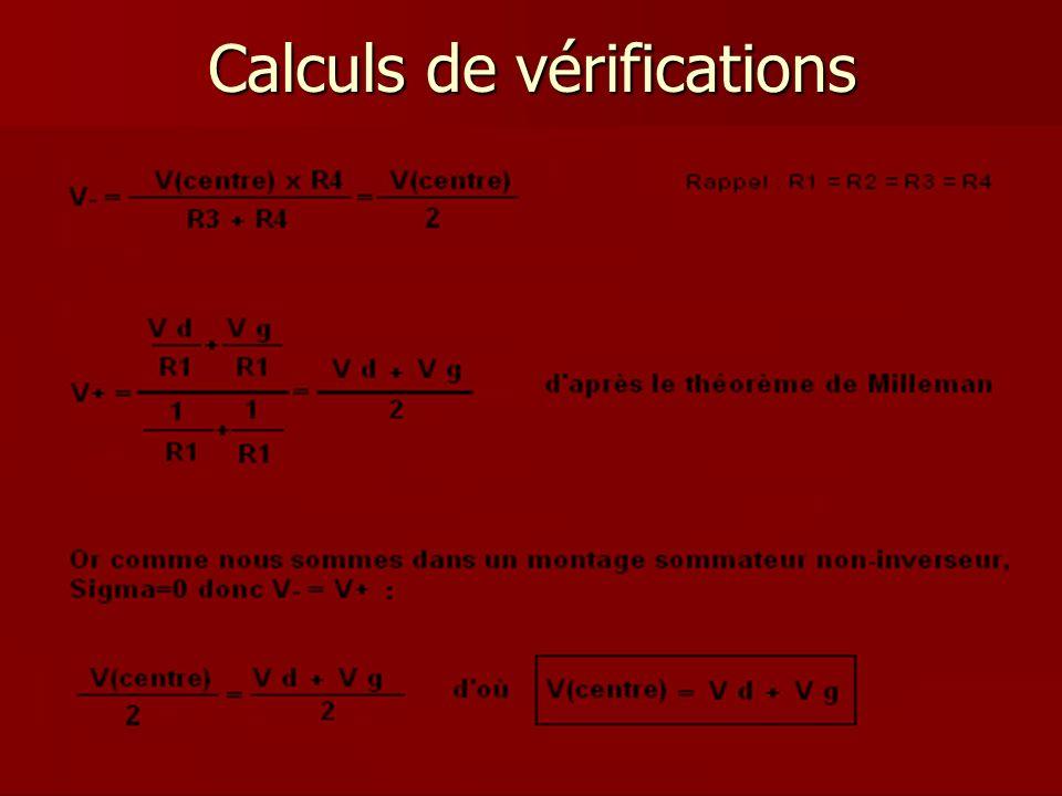 Calculs de vérifications