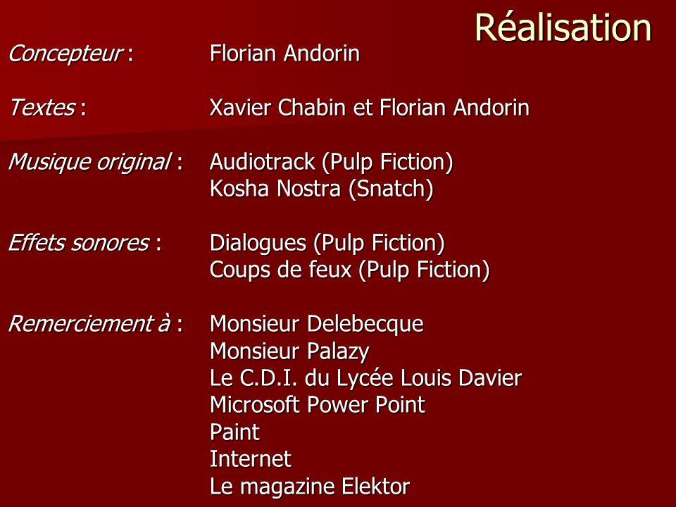 Réalisation Concepteur :Florian Andorin Textes : Xavier Chabin et Florian Andorin Musique original : Audiotrack (Pulp Fiction) Kosha Nostra (Snatch) E