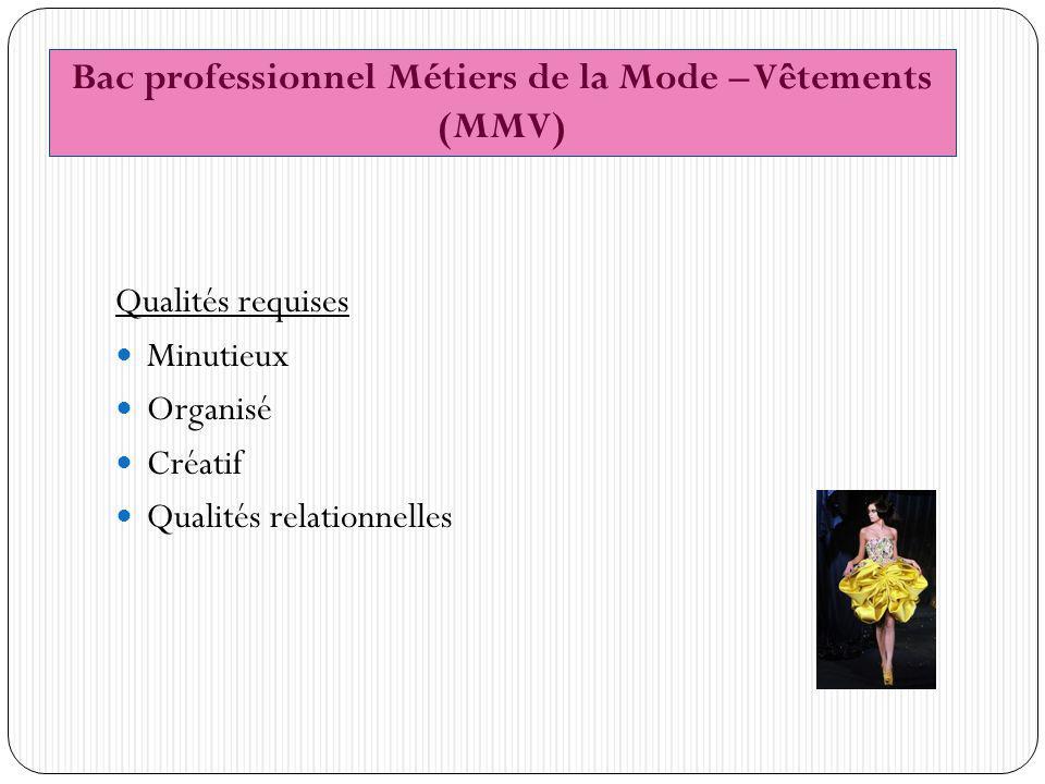 Qualités requises Minutieux Organisé Créatif Qualités relationnelles Bac professionnel Métiers de la Mode – Vêtements (MMV)