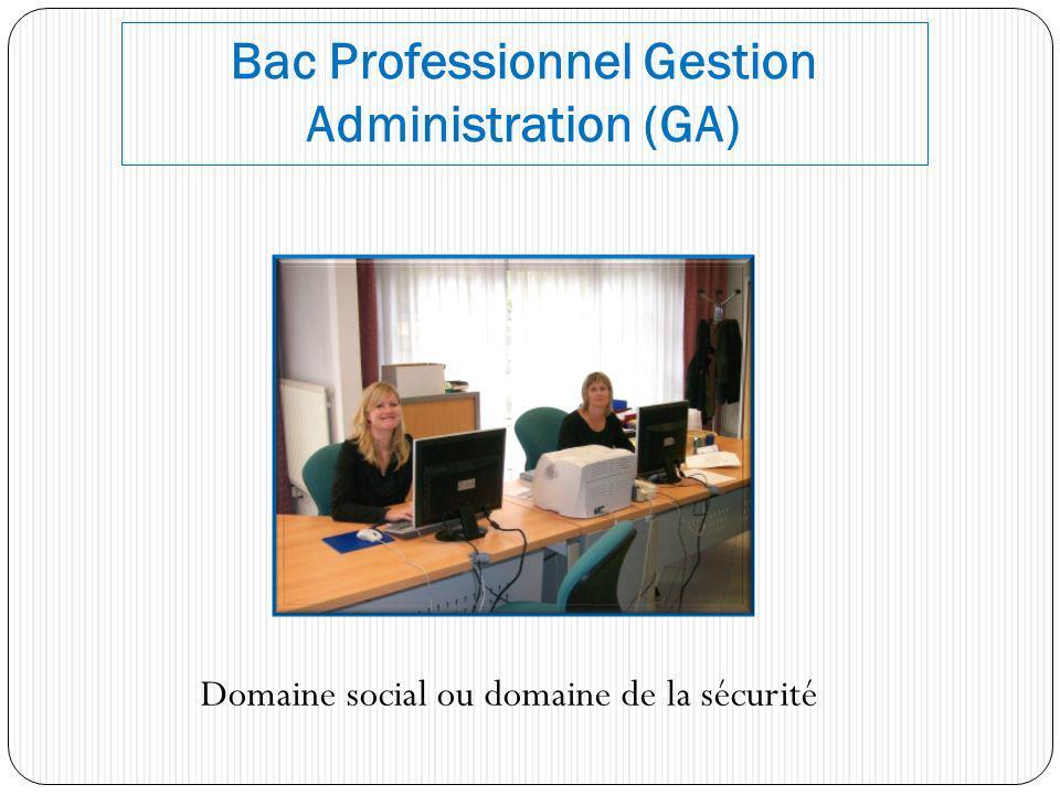 Bac Professionnel Gestion Administration (GA) Domaine social ou domaine de la sécurité
