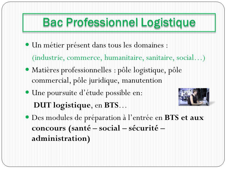 Un métier présent dans tous les domaines : (industrie, commerce, humanitaire, sanitaire, social…) Matières professionnelles : pôle logistique, pôle co