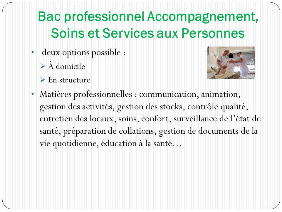 Bac professionnel Accompagnement, Soins et Services aux Personnes deux options possible : À domicile En structure Matières professionnelles : communic