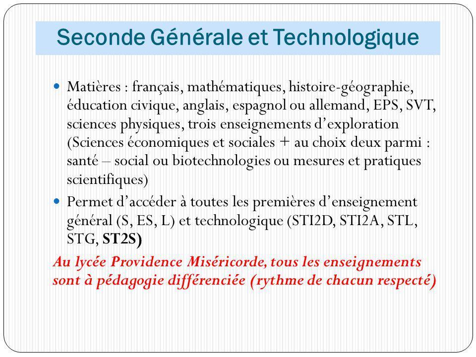 Seconde Générale et Technologique Matières : français, mathématiques, histoire-géographie, éducation civique, anglais, espagnol ou allemand, EPS, SVT,