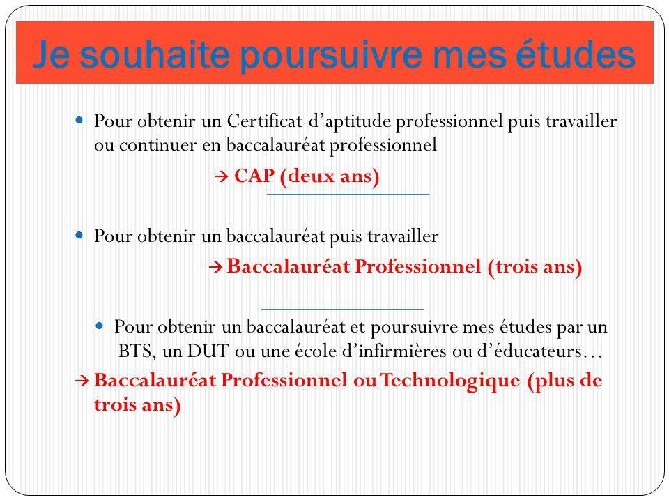 Je souhaite poursuivre mes études Pour obtenir un Certificat daptitude professionnel puis travailler ou continuer en baccalauréat professionnel CAP (d