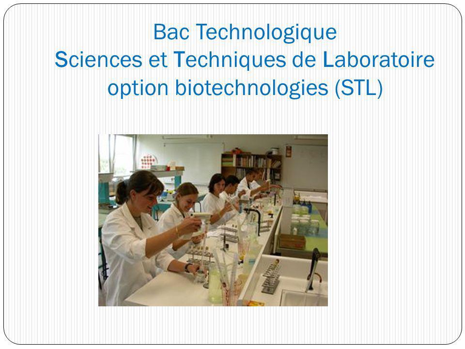 Bac Technologique Sciences et Techniques de Laboratoire option biotechnologies (STL)