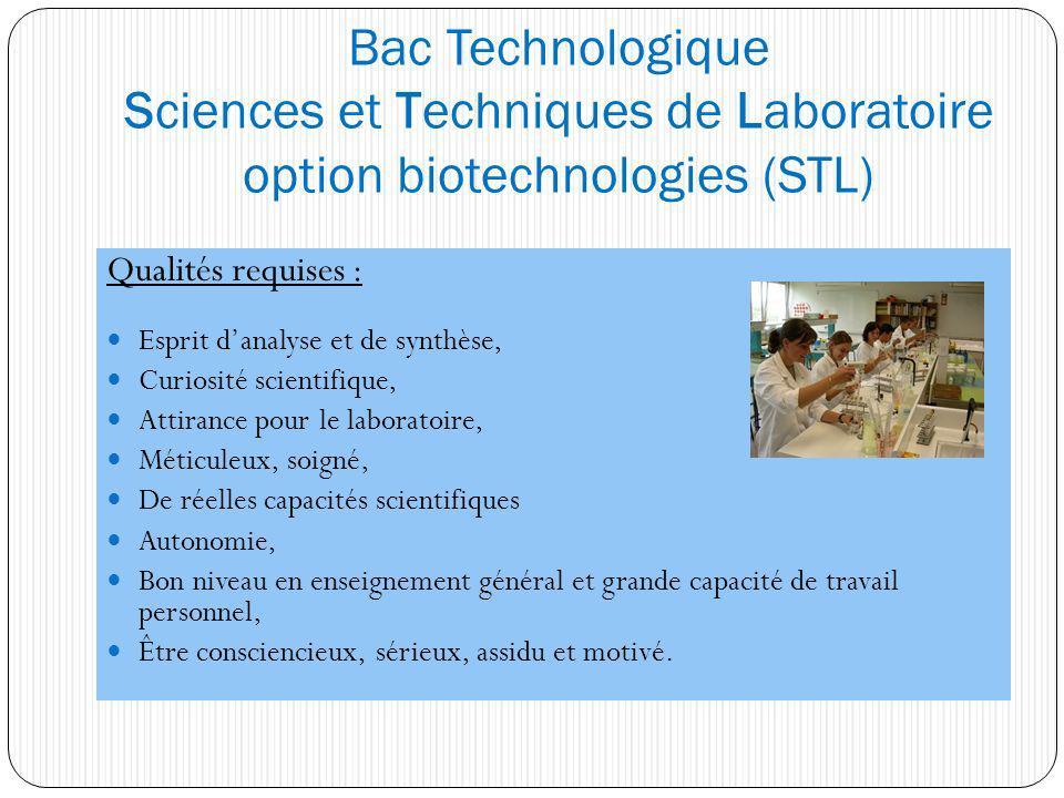 Bac Technologique Sciences et Techniques de Laboratoire option biotechnologies (STL) Qualités requises : Esprit danalyse et de synthèse, Curiosité sci