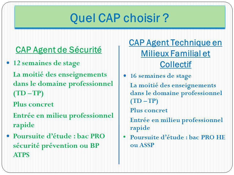 Quel CAP choisir ? CAP Agent de Sécurité CAP Agent Technique en Milieux Familial et Collectif 12 semaines de stage La moitié des enseignements dans le