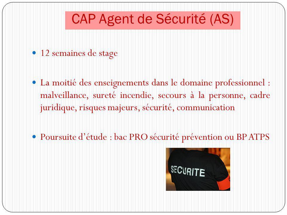 CAP Agent de Sécurité (AS) 12 semaines de stage La moitié des enseignements dans le domaine professionnel : malveillance, sureté incendie, secours à l