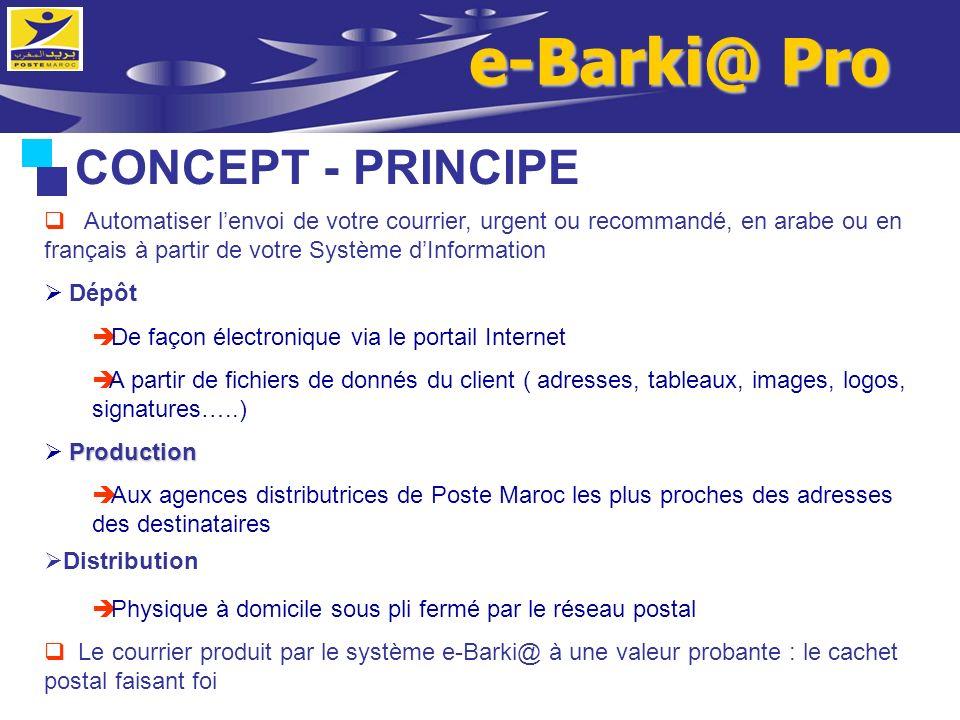 CONCEPT - PRINCIPE Automatiser lenvoi de votre courrier, urgent ou recommandé, en arabe ou en français à partir de votre Système dInformation Dépôt De