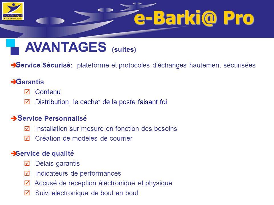 AVANTAGES (suites) S ervice Sécurisé: plateforme et protocoles déchanges hautement sécurisées G arantis Contenu Distribution, le cachet de la poste fa