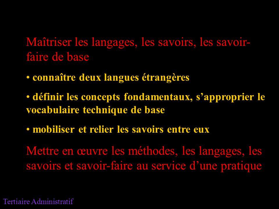 Maîtriser les langages, les savoirs, les savoir- faire de base connaître deux langues étrangères définir les concepts fondamentaux, sapproprier le voc