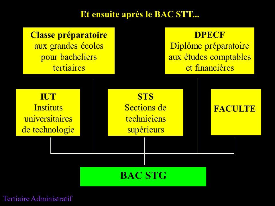 BAC STG Classe préparatoire aux grandes écoles pour bacheliers tertiaires STS Sections de techniciens supérieurs DPECF Diplôme préparatoire aux études