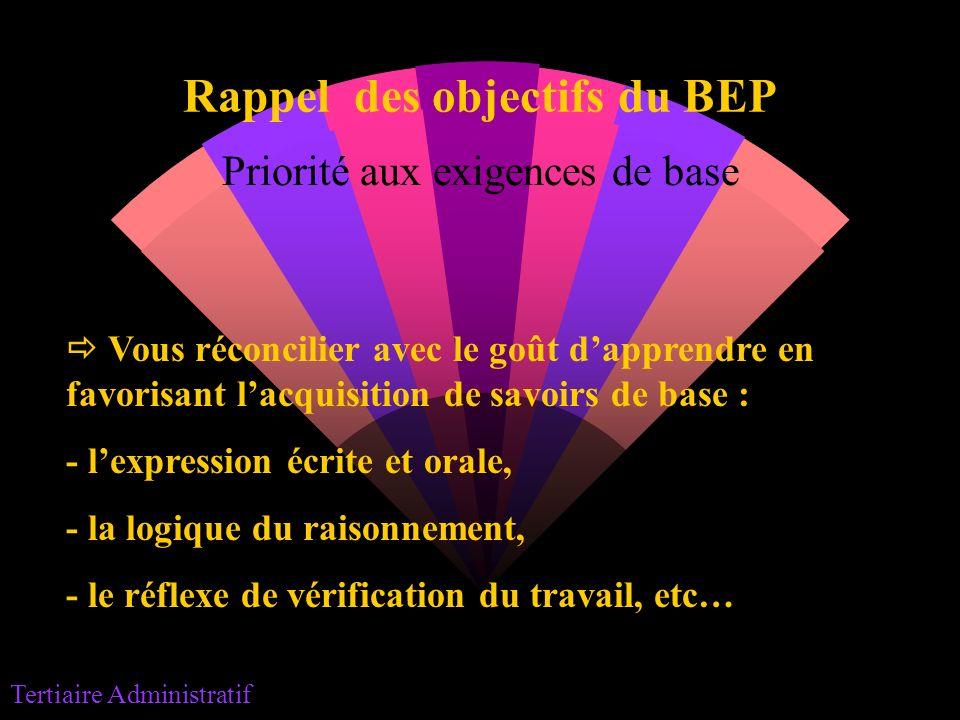 Rappel des objectifs du BEP Priorité aux exigences de base Vous réconcilier avec le goût dapprendre en favorisant lacquisition de savoirs de base : -