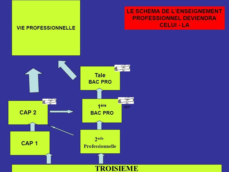 TROISIEME CAP 1 2 nde Professionnelle CAP 2 1 ère BAC PRO Tale BAC PRO VIE PROFESSIONNELLE BEP LE SCHEMA DE LENSEIGNEMENT PROFESSIONNEL DEVIENDRA CELU