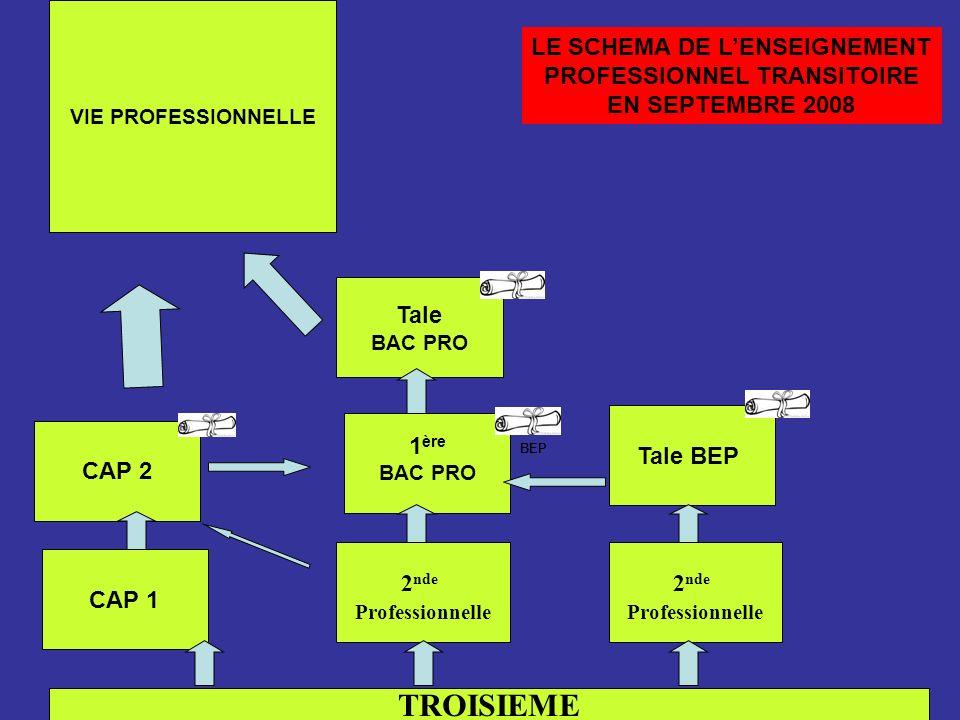 TROISIEME CAP 1 2 nde Professionnelle CAP 2 1 ère BAC PRO Tale BAC PRO VIE PROFESSIONNELLE BEP LE SCHEMA DE LENSEIGNEMENT PROFESSIONNEL TRANSITOIRE EN