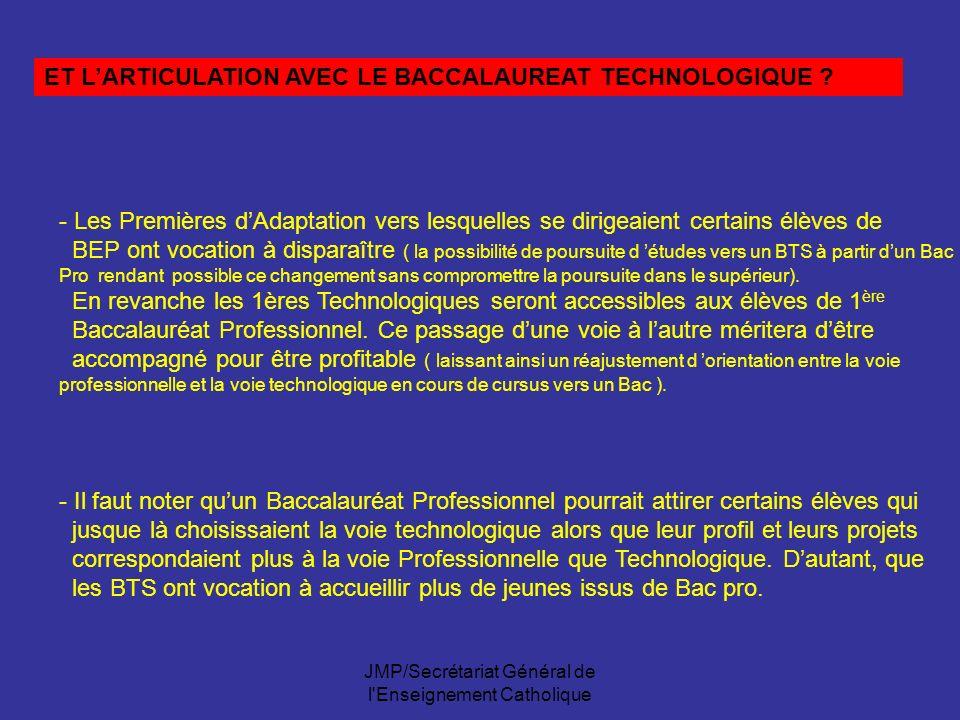 JMP/Secrétariat Général de l'Enseignement Catholique ET LARTICULATION AVEC LE BACCALAUREAT TECHNOLOGIQUE ? - Les Premières dAdaptation vers lesquelles