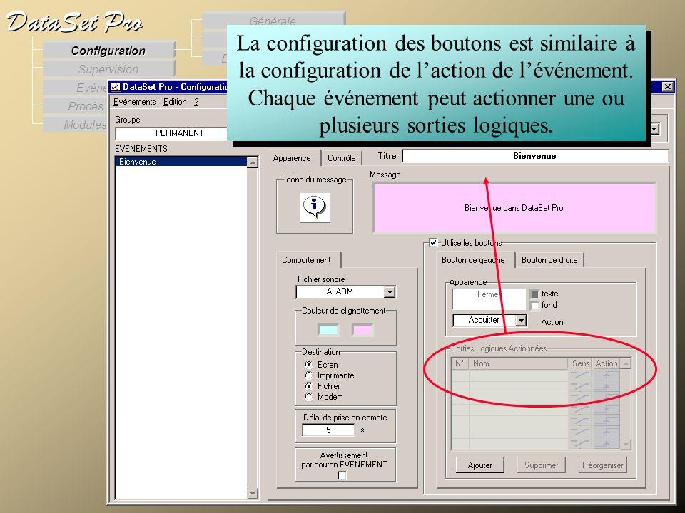 Modules externes Procès Verbaux Evénements Supervision DataSet Pro Configuration Des Procès verbaux Des Evénements Générale La configuration des bouto