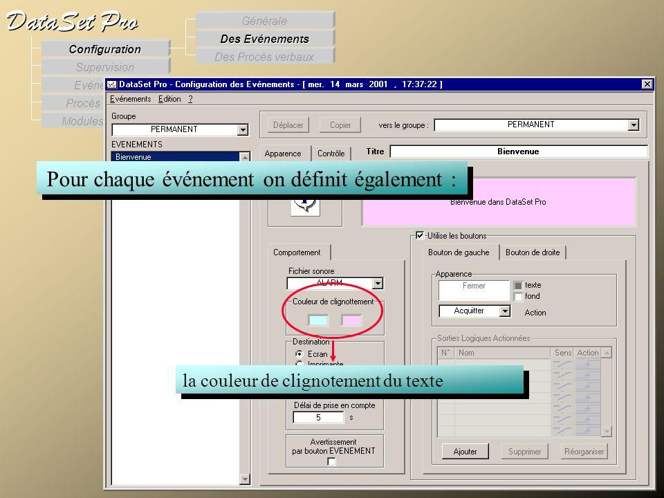 Modules externes Procès Verbaux Evénements Supervision DataSet Pro Configuration Des Procès verbaux Des Evénements Générale Pour chaque événement on d