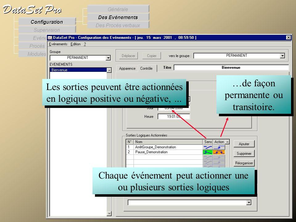 Modules externes Procès Verbaux Evénements Supervision DataSet Pro Configuration Des Procès verbaux Des Evénements Générale Chaque événement peut acti