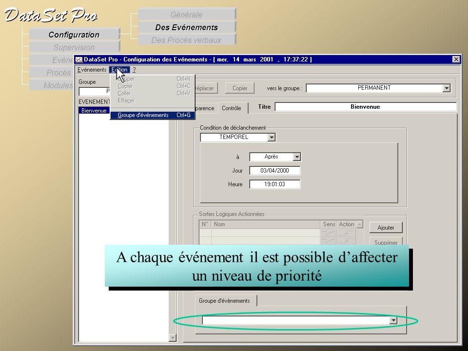 Modules externes Procès Verbaux Evénements Supervision DataSet Pro Configuration Des Procès verbaux Des Evénements Générale A chaque événement il est
