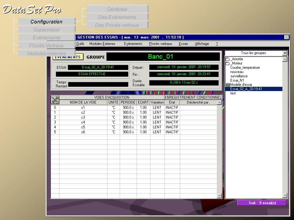 Modules externes Procès Verbaux Evénements Supervision DataSet Pro Configuration Des Procès verbaux Des Evénements Générale