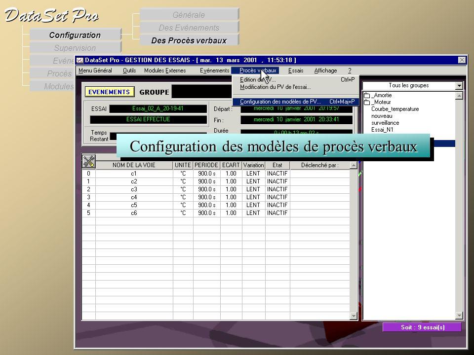 Modules externes Procès Verbaux Evénements Supervision DataSet Pro Configuration Des Procès verbaux Des Evénements Générale Configuration des modèles