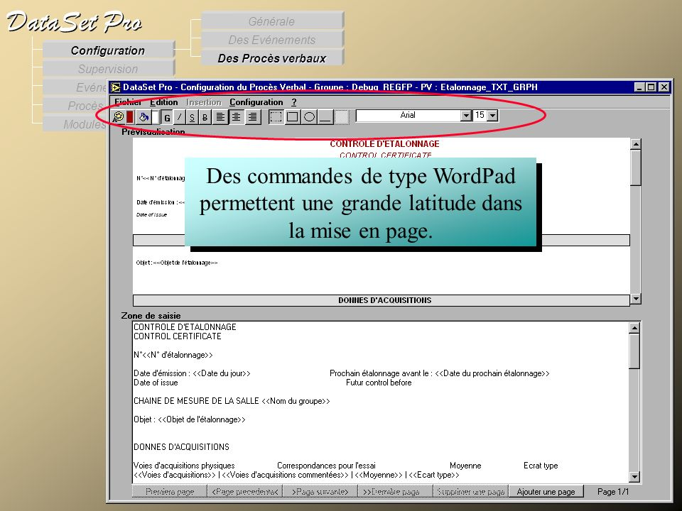 Modules externes Procès Verbaux Evénements Supervision DataSet Pro Configuration Des Procès verbaux Des Evénements Générale Des commandes de type Word