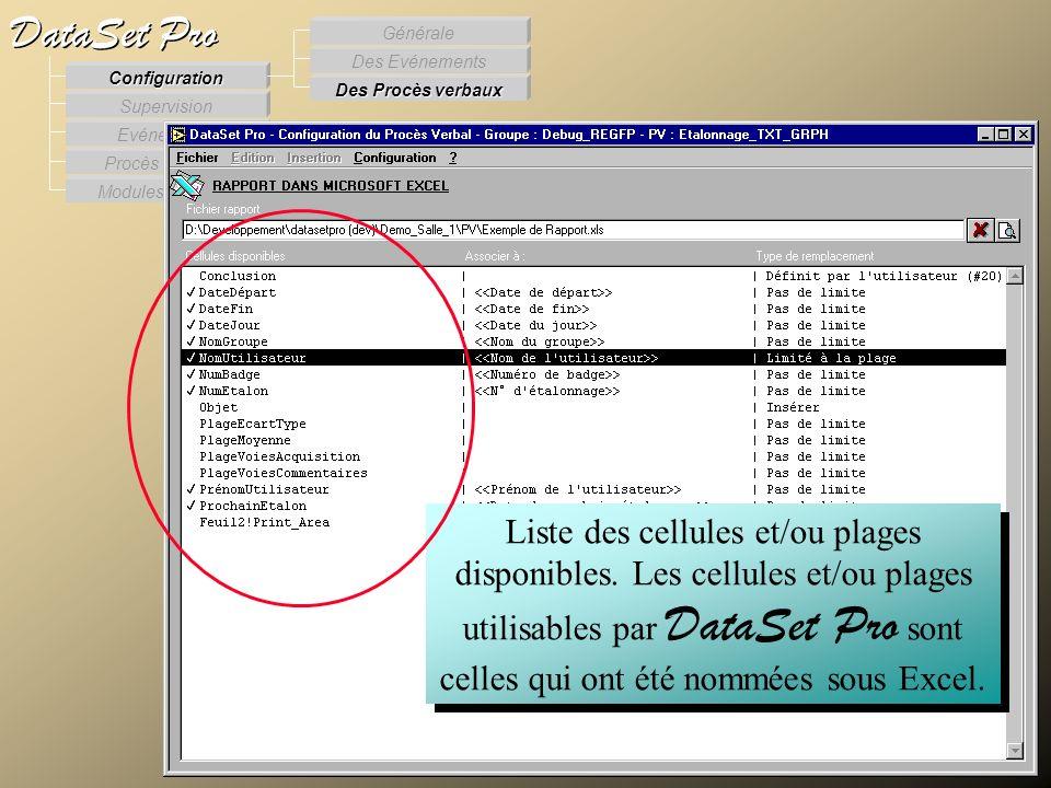 Modules externes Procès Verbaux Evénements Supervision DataSet Pro Configuration Des Procès verbaux Des Evénements Générale Liste des cellules et/ou p