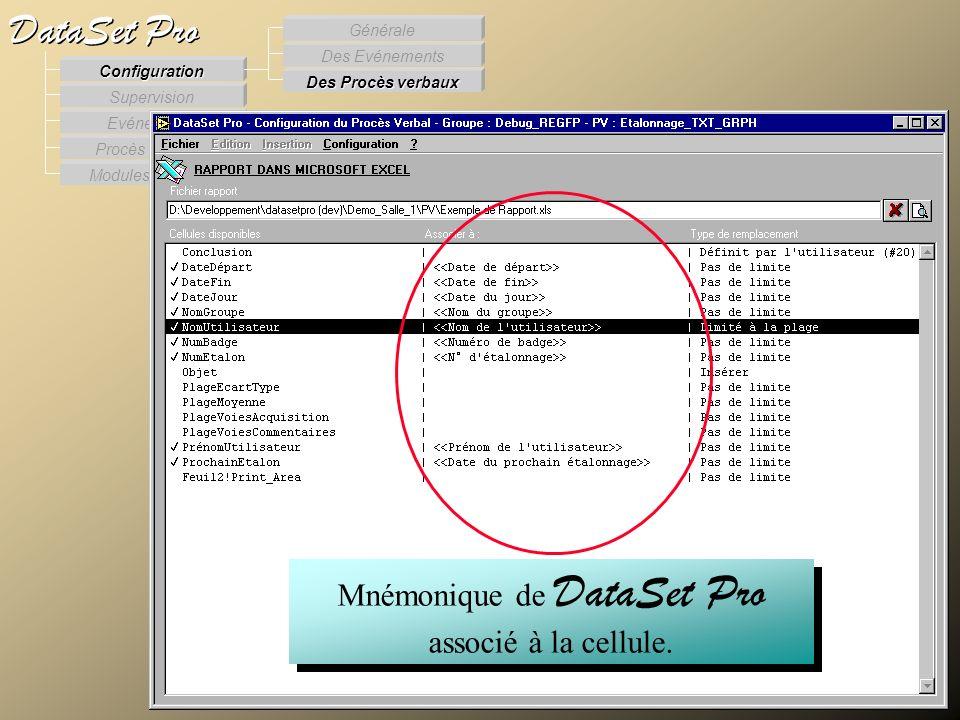 Modules externes Procès Verbaux Evénements Supervision DataSet Pro Configuration Des Procès verbaux Des Evénements Générale Mnémonique de DataSet Pro