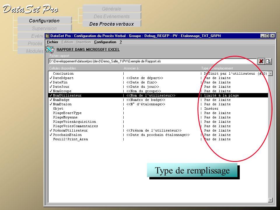 Modules externes Procès Verbaux Evénements Supervision DataSet Pro Configuration Des Procès verbaux Des Evénements Générale Type de remplissage Config