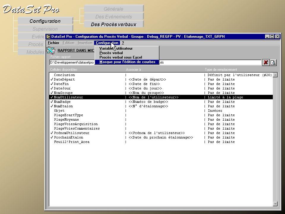 Modules externes Procès Verbaux Evénements Supervision DataSet Pro Configuration Des Procès verbaux Des Evénements Générale Configuration des PV – PV